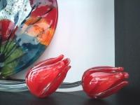glazen rode tulpen-gedenkobjecten
