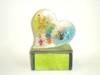 Kleine (duo-)urn met hart van glas