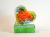 Glazen hart-urn klein