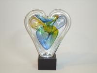 Urn mini - hart in glas-natuursteen