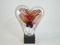 Urn hart in glas-natuursteen