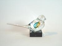 Glazen mini-urn vogel