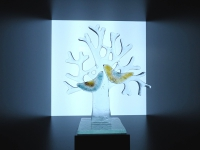 mini urn glas levensboom met vogels