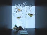 glazen mini urn levensboom-vogels