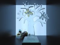 glazen mini (duo-)urn levensboom vlinders