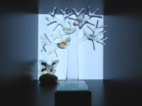 Glazen mini urn levensboom vogels-vlinder