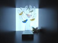 glazen mini urn-levensboom-vogels