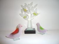 mini-urn-glas - boom-met-vogels