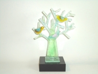 glazen mini-urn boom-vogels