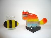 mini katten-urn van glas