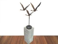 bronzen beeld-drie vogels