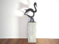 bronzen beeld-vogel