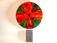 abstract kunstobject in glas-bloem