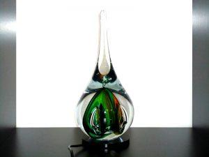 glazen druppel urn met lichtje
