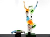 mini urn waxinelichthouder met glazen beeldje