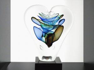 unieke glazen hart urn