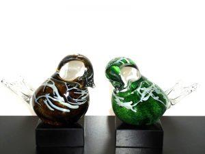 mini urnen met vogels glas