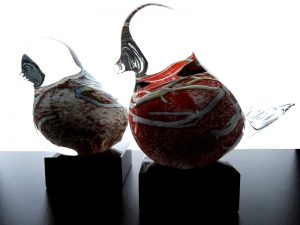 glazen vogel urn kleur uniek