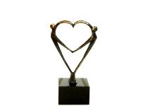 Mini urn hartvorm brons