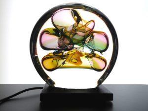 moderne glazen mini urn met licht