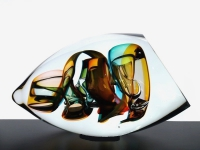 Glazen mini urn modern abstract