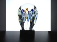 gedenkobject urn glas bloem