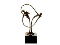 mini (duo-) urn hartvormig bronzen asbeeld