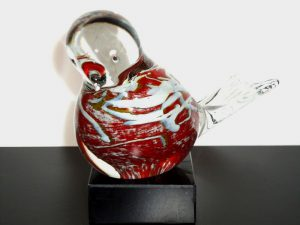 vogel urn klein glas