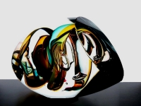 moderne abstracte urn in glas