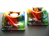 gedenklichtjes van gekleurd glas