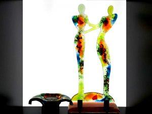 glazen mini urnen met kaarsje en beeld