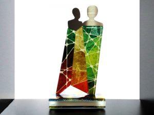 unieke moderne duo urnen glas