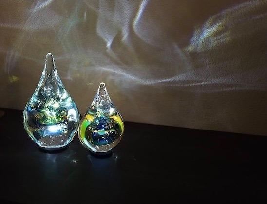 glazen mini urnen met licht